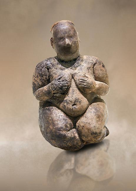 Seated terracotta goddess, probably a sign of fertility. Catalhoyuk Collections. Museum of Anatolian Civilisations, Ankara