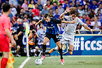 FC FC Internazionale Forward Ivan Perisic (L) fights for the ball with Chelsea Defender David Luiz (R) during the International Champions Cup 2017 match between FC Internazionale and Chelsea FC on July 29, 2017 in Singapore. Photo by Marcio Rodrigo Machado / Power Sport Images