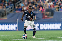 FOXBOROUGH, MA - AUGUST 25: Luis Caicedo #27 of New England Revolution looks to pass during a game between Chicago Fire and New England Revolution at Gillette Stadium on August 24, 2019 in Foxborough, Massachusetts.