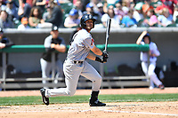 Jackson Generals center fielder Ben Deluzio (4) swings at a pitch during a game against the Tennessee Smokies at Smokies Stadium on April 11, 2018 in Kodak, Tennessee. The Generals defeated the Smokies 6-4. (Tony Farlow/Four Seam Images)