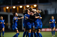 Seattle, WA - April 15th, 2017: Seattle Reign FC Megan Rapinoe celebrates during a regular season National Women's Soccer League (NWSL) match between the Seattle Reign FC and Sky Blue FC at Memorial Stadium.
