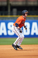 Pavin Smith (10) of the Virginia Cavaliers takes his lead off of second base against the Duke Blue Devils in Game Seven of the 2017 ACC Baseball Championship at Louisville Slugger Field on May 25, 2017 in Louisville, Kentucky. The Blue Devils defeated the Cavaliers 4-3. (Brian Westerholt/Four Seam Images)