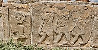 Pictures & Images Hittite relief sculpted orthostat panels of the Sphinx Gate. Panel depicts a procession making offerings to a lion god. Alaca Hoyuk (Alacahoyuk) Hittite archaeological site  Alaca, Çorum Province, Turkey, Also known as Alacahüyük, Aladja-Hoyuk, Euyuk, or Evuk
