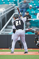 Brandon Bingel (21) of the Bryant Bulldogs at bat against the Coastal Carolina Chanticleers at Springs Brooks Stadium on March 13, 2015 in Charlotte, North Carolina.  The Chanticleers defeated the Bulldogs 7-2.  (Brian Westerholt/Four Seam Images)