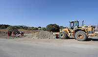 Pictured: A digger operates near forensic officers and volunteers at the second site in Kos, Greece. Sunday 16 October 2016<br />Re: Police teams led by South Yorkshire Police are searching for missing toddler Ben Needham on the Greek island of Kos.<br />Ben, from Sheffield, was 21 months old when he disappeared on 24 July 1991 during a family holiday.<br />Digging has begun at a new site after a fresh line of inquiry suggested he could have been crushed by a digger.