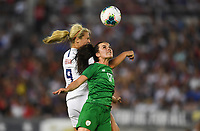 PASADENA, CALIFORNIA - August 03: Lindsey Horan #9, Niamh Farrelly #17 during their international friendly and the USWNT Victory Tour match between Ireland and the United States at the Rose Bowl on August 03, 2019 in Pasadena, CA.