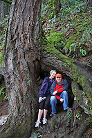 Couple under root of large douglas fir tree. Columbia River Gorge. Oregon