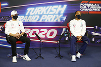 12th November 2020; Istanbul Park, Istanbul, Turkey;  FIA Formula One World Championship 2020, Grand Prix of Turkey, 77 Valtteri Bottas FIN, Mercedes-AMG Petronas Formula One Team with 44 Lewis Hamilton GBR, Mercedes-AMG Petronas Formula One Team pre race press conference