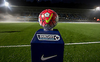 The Barclays U21 Premier League match ball sits on display pre match during the Barclays U21 Premier League match between Reading and Southampton at Adams Park, High Wycombe, England on 21 September 2015. Photo by Andy Rowland.