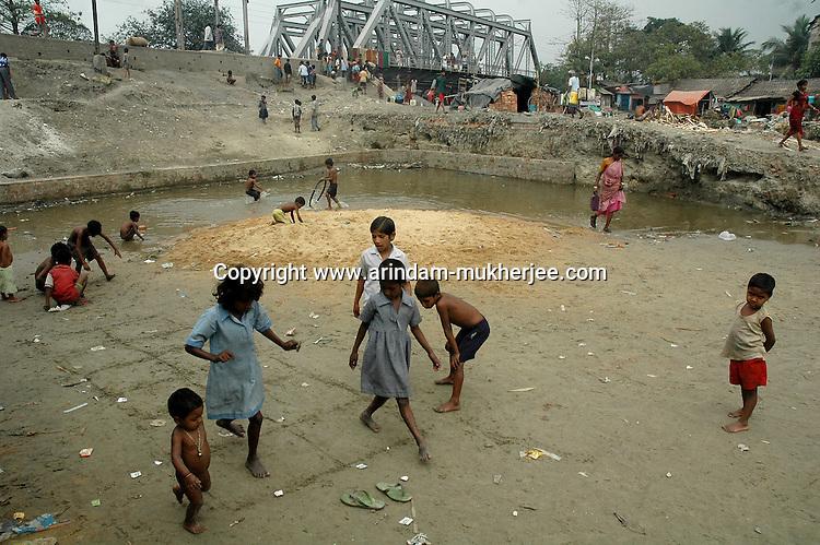 Children playing in a slum area in Calcutta.