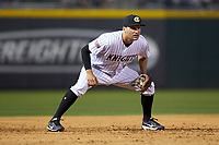 Charlotte Knights third baseman Patrick Leonard (20) on defense against the Scranton/Wilkes-Barre RailRiders at BB&T BallPark on April 12, 2018 in Charlotte, North Carolina.  The RailRiders defeated the Knights 11-1.  (Brian Westerholt/Four Seam Images)
