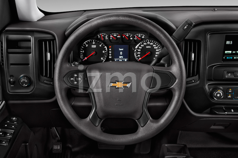Car pictures of steering wheel view of a 2018 Chevrolet Silverado 1500 1WT Regular Cab Long Box 3 Door Pick-up Steering Wheel