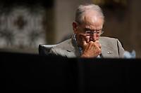United States Senator Chuck Grassley (Republican of Iowa), listens during a US Senate Judiciary Committee business meeting to consider authorization for subpoenas relating to the Crossfire Hurricane investigation, and other matters on Capitol Hill in Washington, Thursday, June 11, 2020. <br /> Credit: Carolyn Kaster / Pool via CNP/AdMedia