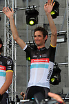 Radioshack-Nissan team rider Frank Schleck (LUX) on stage at the Team Presentation Ceremony in front of The Palais Provincial , Place Saint-Lambert, Liege, Belgium before the 2012 Tour De France, 28th June 2012 (Photo by Eoin Clarke/NEWSFILE)