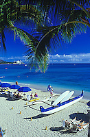 Waikiki beach with outrigger canoe, Island of Oahu