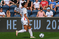 BRIDGEVIEW, IL - JULY 18: Sam Hiatt #27 of the OL Reign plays the ball during a game between OL Reign and Chicago Red Stars at SeatGeek Stadium on July 18, 2021 in Bridgeview, Illinois.