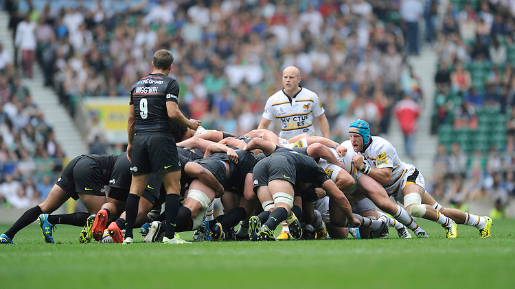 James Haskell of Wasps encourages his team mates during a set scrum during the Premiership Rugby Round 1 match between Saracens and Wasps at Twickenham Stadium on Saturday 6th September 2014 (Photo by Rob Munro)