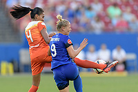 Frisco, TX - Sunday September 03, 2017: Bruna Benites and Merritt Mathias during a regular season National Women's Soccer League (NWSL) match between the Houston Dash and the Seattle Reign FC at Toyota Stadium in Frisco Texas. The match was moved to Toyota Stadium in Frisco Texas due to Hurricane Harvey hitting Houston Texas.
