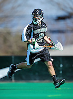 3 April 2010: Binghamton University Bearcats' Midfielder Frank Donlon, a Junior from Mt. Sinai, NY, in action against the University of Vermont Catamounts at Moulton Winder Field in Burlington, Vermont. The Catamounts defeated the visiting Bearcats 11-8 in Vermont's opening home game of the 2010 season. Mandatory Credit: Ed Wolfstein Photo