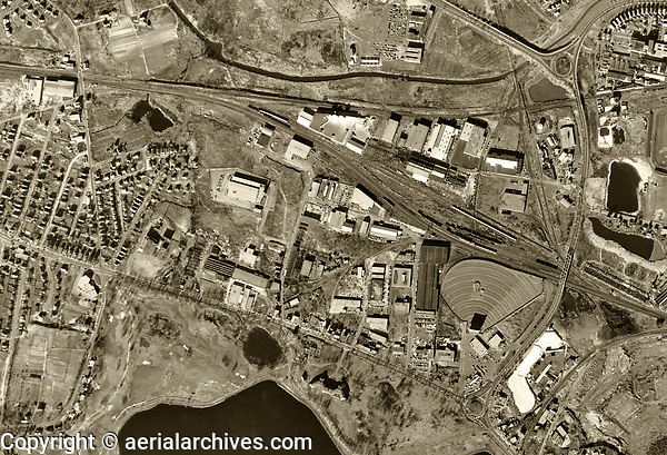 historical aerial photograph West End Iron Works, Cambridge, MA, 1955