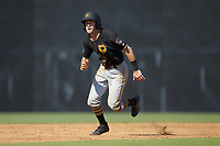 Chase Lambert (2) of the Bristol Pirates takes off for third base during the game against the Danville Braves at American Legion Post 325 Field on July 1, 2018 in Danville, Virginia. The Braves defeated the Pirates 3-2 in 10 innings. (Brian Westerholt/Four Seam Images)