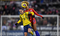 COLUMBUS, OH - NOVEMBER 07: Kosovare Asllani #9 of Sweden and Casey Short #26 of the USA battle for a ball during a game between Sweden and USWNT at MAPFRE Stadium on November 07, 2019 in Columbus, Ohio.