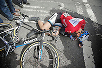 Stage winner Marcel Kittel (DEU/Giant-Shimano) collapses at the end of the finish straight.<br /> The German needed to dig extremely deep to secure his 2nd Giro win. And all that on his 26th birthday.<br /> <br /> Giro d'Italia 2014<br /> stage 3: Armagh - Dublin 187km