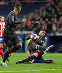 MADRID, SPAIN - FEBRUARY 18: Alex Oxlade-Chamberlain of Liverpool and Thomas Lemar of Atletico de Madrid in action during the UEFA Champions League football match, round 16, played between Atletico de Madrid and Liverpool FC at Wanda Metropolitano stadium on February 18, 2020 in Madrid, Spain.<br /> (ALTERPHOTOS/David Jar)