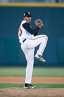 Lansing Lugnuts pitcher Jose Fernandez (40) delivers a pitch during a game against the Peoria Chiefs on June 6, 2015 at Cooley Law School Stadium in Lansing, Michigan.  Lansing defeated Peoria 6-2.  (Mike Janes/Four Seam Images)