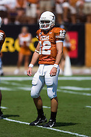 02 September 2006: University of Texas quarterback Colt McCoy talks to his teammates during the Longhorns 56-7 victory over the University of North Texas at Darrell K Royal Memorial Stadium in Austin, TX.