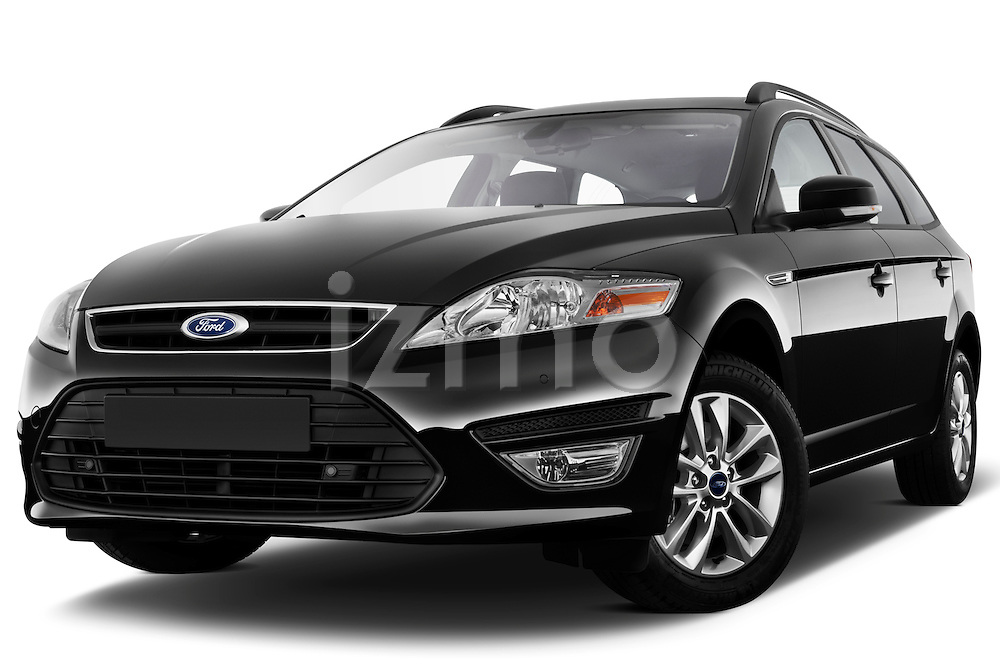 Low aggressive front three quarter view of 2011 Ford Mondeo Trend Wagon Stock Photo