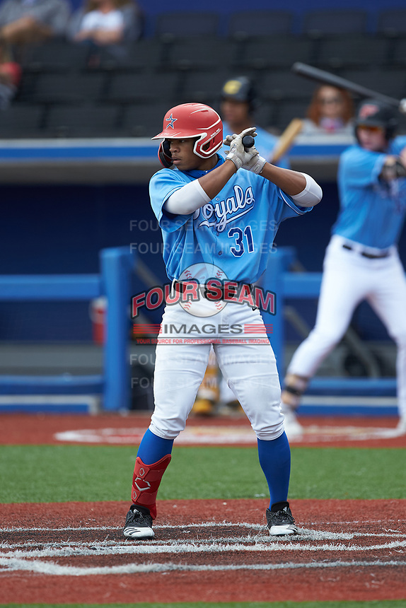 Aden Hill (31) of Chopticon High School (MD) playing for the Kansas City Royals scout team during game six of the South Atlantic Border Battle at Truist Point on September 27, 2020 in High Pont, NC. (Brian Westerholt/Four Seam Images)