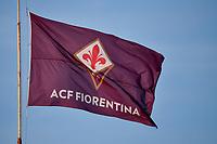 A flag of Fiorentina is seen during the Italy cup football match between ACF Fiorentina and Cosenza calcio at Artemio Franchi stadium in Florence (Italy), August 13th, 2021. ACF Fiorentina won 4-0 over Cosenza calcio. Photo Andrea Staccioli / Insidefoto