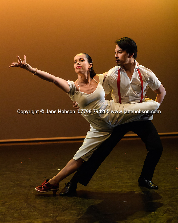 London, UK. 09.05.2018. Step Change Studios present their ballroom show Fusion, at Sadler's Wells' Lilian Baylis Studio. Fusion is the UK's first inclusive Latin and ballroom dance showcase by disabled and non-disabled artists, drawing on different dance influences such as swing and contemporary to develop original pieces inspired by Latin and ballroom. Picture shows: TANGO TRANSITIONS, created by Anna Alvarez, performed by Anna Alvarez and Hearns Sebuado. Photograph © Jane Hobson.