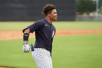 FCL Yankees Madison Santos (34) celebrates hitting a walk-off double during a game against the FCL Phillies on July 6, 2021 at the Yankees Minor League Complex in Tampa, Florida.  (Mike Janes/Four Seam Images)