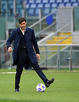 Football, Serie A: AS Roma - Bologna, Olympic stadium, Rome, April 11, 2021. <br /> Roma's coach Paulo Fonseca plays with the ball during the Italian Serie A football match between AS Roma and Bologna at Rome's Olympic stadium, Rome, on April 11, 2021.  <br /> UPDATE IMAGES PRESS/Isabella Bonotto