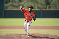 San Francisco Giants relief pitcher Gregory Santos (76) delivers a pitch to the plate during an Instructional League game against the Kansas City Royals at the Giants Training Complex on October 17, 2017 in Scottsdale, Arizona. (Zachary Lucy/Four Seam Images)