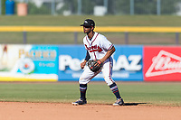 Peoria Javelinas second baseman Ray-Patrick Didder (1), of the Atlanta Braves organization, during an Arizona Fall League game against the Scottsdale Scorpions at Peoria Sports Complex on October 18, 2018 in Peoria, Arizona. Scottsdale defeated Peoria 8-0. (Zachary Lucy/Four Seam Images)