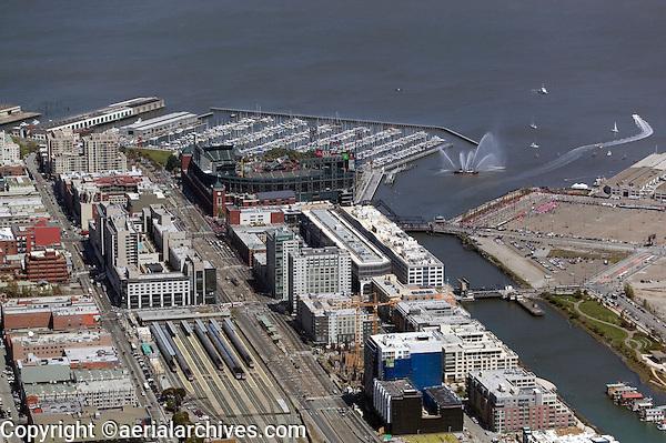 aerial photograph Caltrain, Giants Stadium San Francisco, California