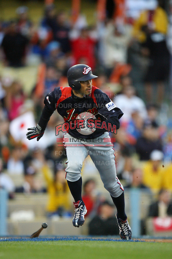 Ichiro Suzuki of Japan during a game against Korea at the World Baseball Classic at Dodger Stadium on March 23, 2009 in Los Angeles, California. (Larry Goren/Four Seam Images)