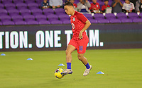 ORLANDO, FL - NOVEMBER 15: Sergino Dest #18 of the United States warming up during a game between Canada and USMNT at Exploria Stadium on November 15, 2019 in Orlando, Florida.