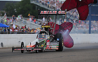 Aug. 20, 2011; Brainerd, MN, USA: NHRA top fuel dragster driver Terry McMillen during qualifying for the Lucas Oil Nationals at Brainerd International Raceway. Mandatory Credit: Mark J. Rebilas-