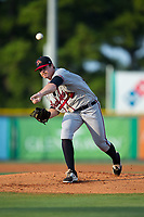 Danville Braves starting pitcher Bruce Zimmerman (28) delivers a pitch to the plate against the Burlington Royals at Burlington Athletic Stadium on August 14, 2017 in Burlington, North Carolina.  The Royals defeated the Braves 9-8 in 10 innings.  (Brian Westerholt/Four Seam Images)