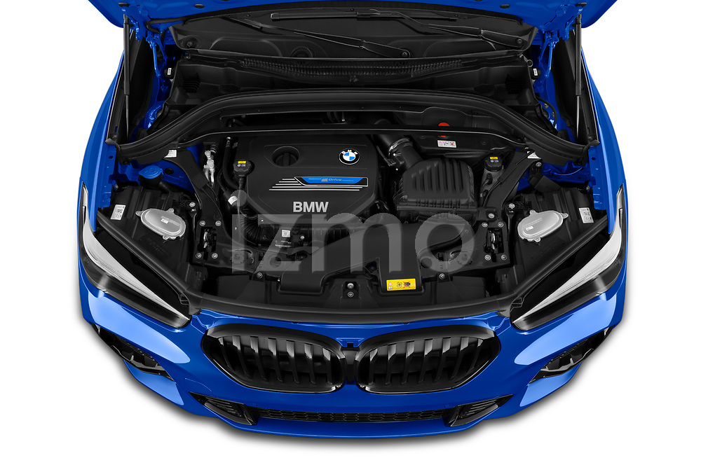 Car Stock 2020 BMW X1 M-Sport 5 Door SUV Engine  high angle detail view