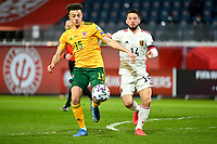 24th March 2021; Leuven, Belgium;  Ethan Ampadu  of Wales breaks away from Dries Mertens  of Belgium during the World Cup Qatar 2022 Qualifiers Match between Belgium and Wales on March 24, 2021 in Leuven, Belgium