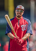 6 April 2014: Washington Nationals infielder Anthony Rendon awaits his turn in the batting cage prior to a game against the Atlanta Braves at Nationals Park in Washington, DC. The Nationals defeated the Braves 2-1 to salvage the last game of their 3-game series. Mandatory Credit: Ed Wolfstein Photo *** RAW (NEF) Image File Available ***