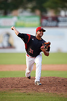 Batavia Muckdogs relief pitcher Jeremy Ovalle (31) delivers a pitch during the first game of a doubleheader against the Mahoning Valley Scrappers on August 28, 2017 at Dwyer Stadium in Batavia, New York.  Mahoning Valley defeated Batavia 6-3.  (Mike Janes/Four Seam Images)