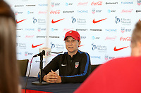 Cary, NC - Sunday October 22, 2017: Jill Ellis at the postgame press conference after an International friendly match between the Women's National teams of the United States (USA) and South Korea (KOR) at Sahlen's Stadium at WakeMed Soccer Park. The U.S. won the game 6-0.