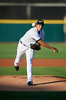 Lakeland Flying Tigers starting warmup pitcher Alex Faedo (13) delivers a warmup pitch during a game against the Tampa Tarpons on April 6, 2018 at Publix Field at Joker Marchant Stadium in Lakeland, Florida.  Lakeland defeated Tampa 6-5.  (Mike Janes/Four Seam Images)
