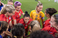 CHARLOTTE, NC - OCTOBER 3: Ali Krieger #11 of the United States stands in the huddle during a game between Korea Republic and USWNT at Bank of America Stadium on October 3, 2019 in Charlotte, North Carolina.